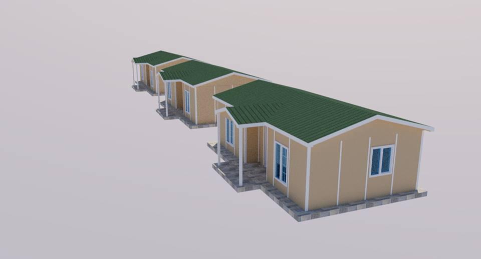 casas pré-fabricadas para refugiados