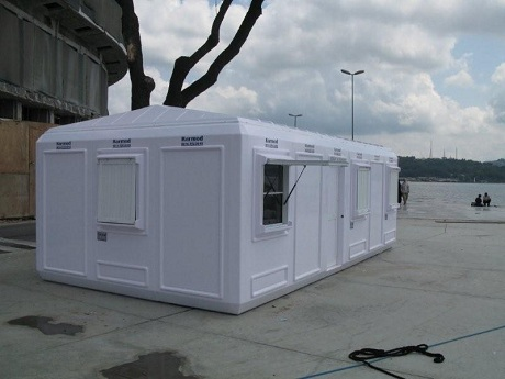 Temporary foldable container office