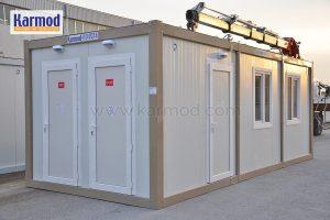Container toilet block