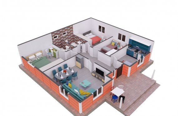 100 m2 Single Story Large Prefab House