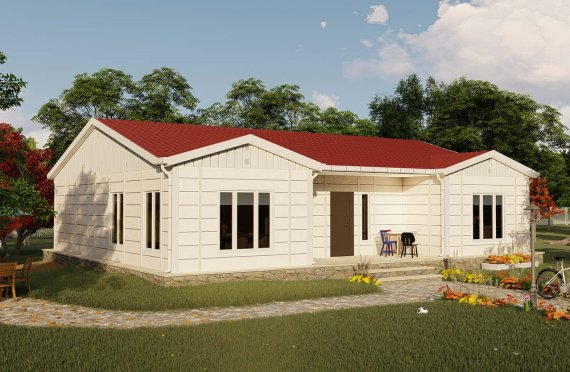 123 m2 Hight Roof Prefab House