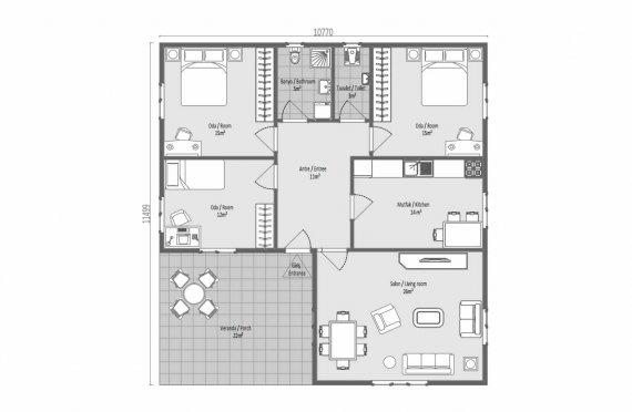 123 m2 Summer Prefab House