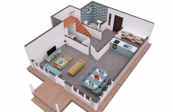 126-m2 Tidy look Dublex Prefab House