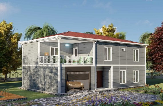206 m2 Prefab Homes With Terrace
