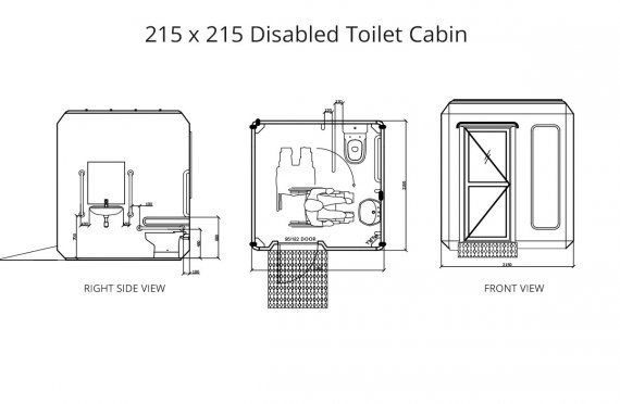 215 x 215 Disabled Toilet Cabin