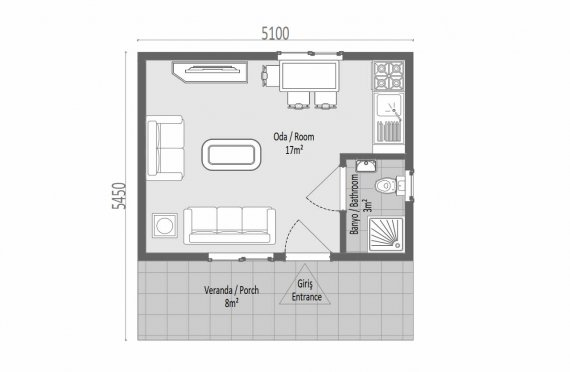 28 m2 Single Story Prefab House