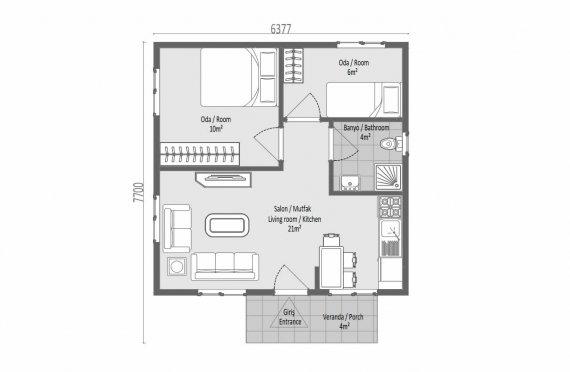 45 m2 Nostalgia Single Story Prefab House