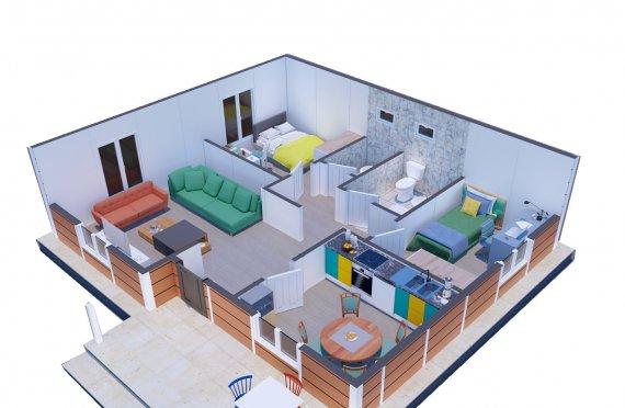 75 m2 Prefab house with veranda