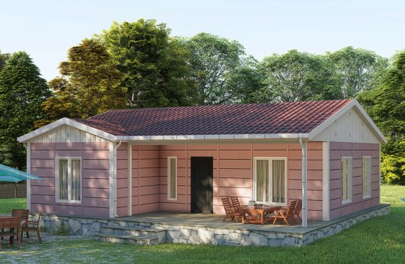 87 m2 Single Story Prefab Cabin House