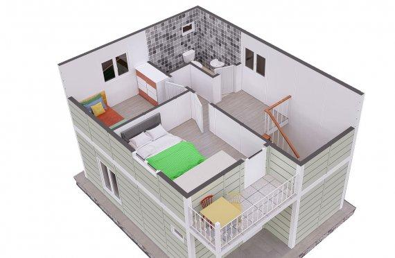91 m2 Double Story Prefab House