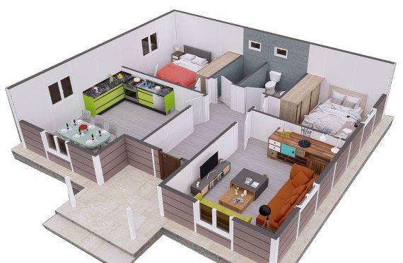 95 m2 Mini Prefab Villa