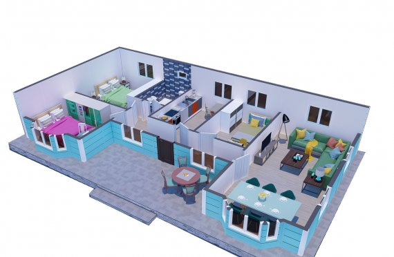97 m2 Prefab Family House