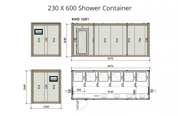 KW6 230X600 Shower Container