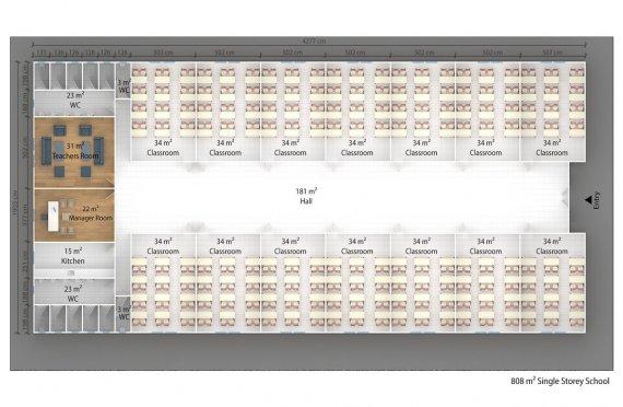 Prefabricated School 808 M² | Modular Classrooms