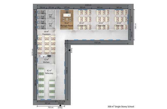 Prefabricated School 308 M² | Modular education buildings