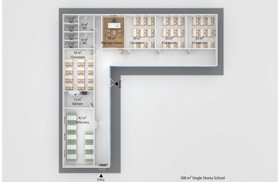 Prefabricated School 308 M² | Modular education buildings