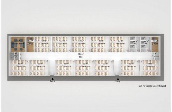 Prefabricated School 681 M² | Modular School Buildings