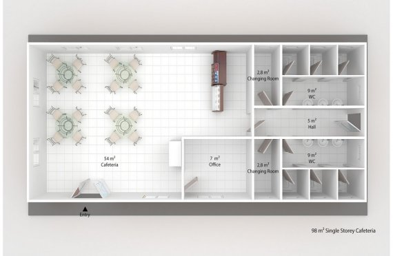 Prefabricated Cafeteria 98 m²