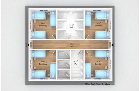 Prefabricated Dormitory 102 m²