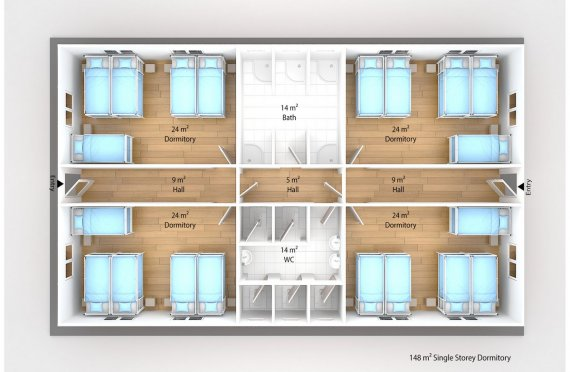 Prefabricated Dormitory 148 m2