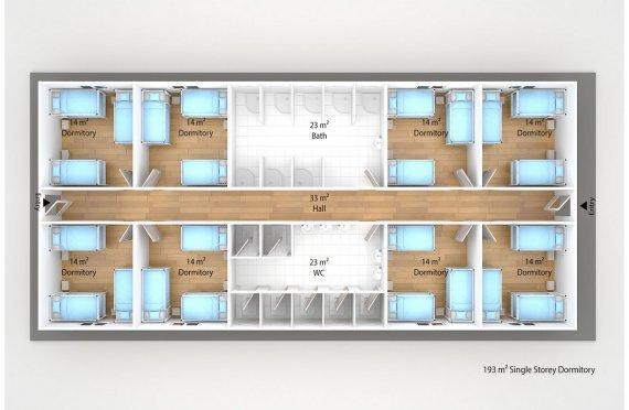 Prefabricated Dormitory 193 m2