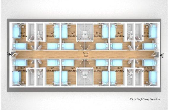 Prefabricated Dormitory 204 m2