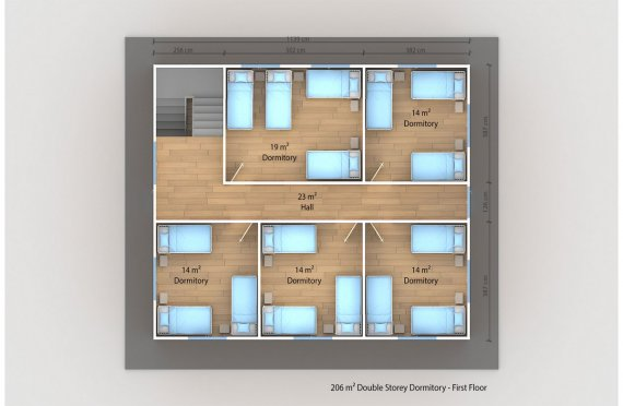 Prefabricated Dormitory 206 m2