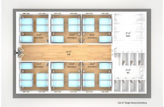 Prefabricated Dormitory 232 m2