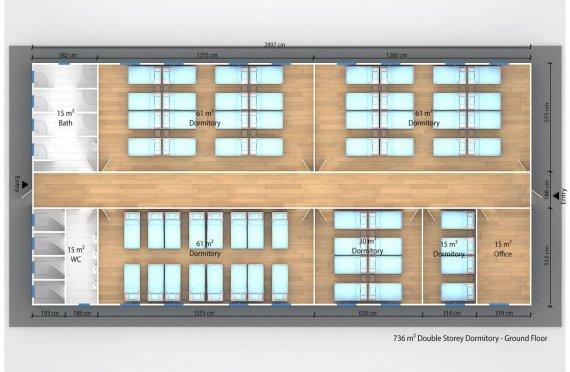 Prefabricated Dormitory 736 m²