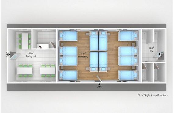 Prefabricated Dormitory 86 m2