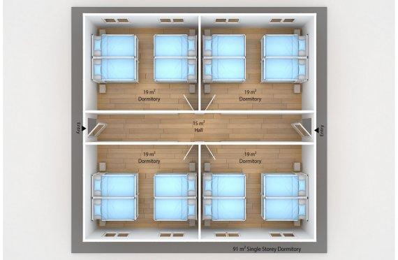 Prefabricated Dormitory 91 m2