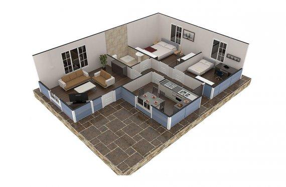 Prefabricated Modular Homes - 73 m² Prefabricated Modular Home Designs and Plans