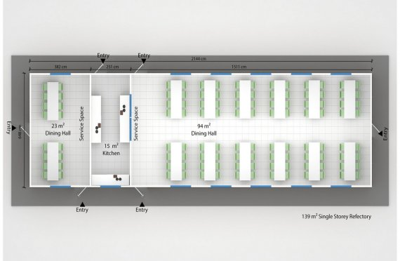 Prefabricated Refectory 139 m²