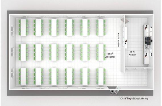 Prefabricated Refectory 170 m²