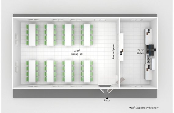 Prefabricated Refectory 98 m²