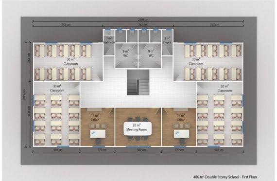 Prefabricated School 480 M² | Modular School Buildings
