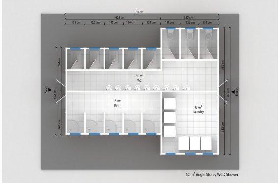 Prefabricated WC & Shower 62 M²