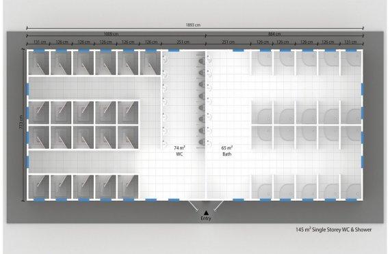 Prefabricated WC & Shower 145 M²